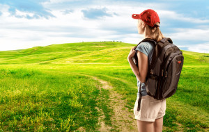 Woman Starting Hike